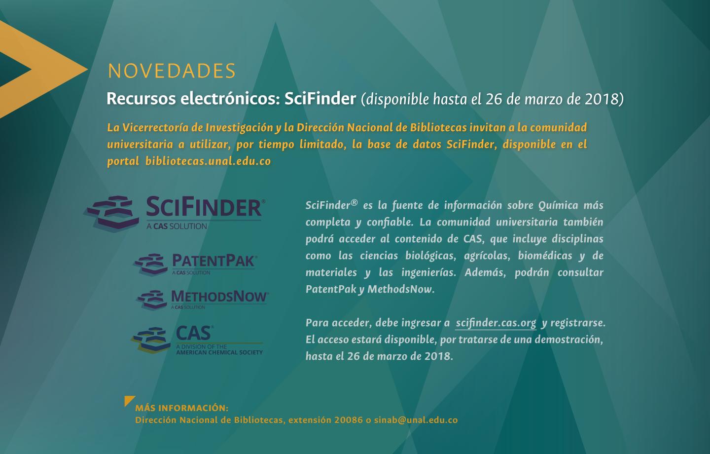 Novedades en recursos electrónicos: SciFinder, disponible hasta el 26 de marzo de 2018