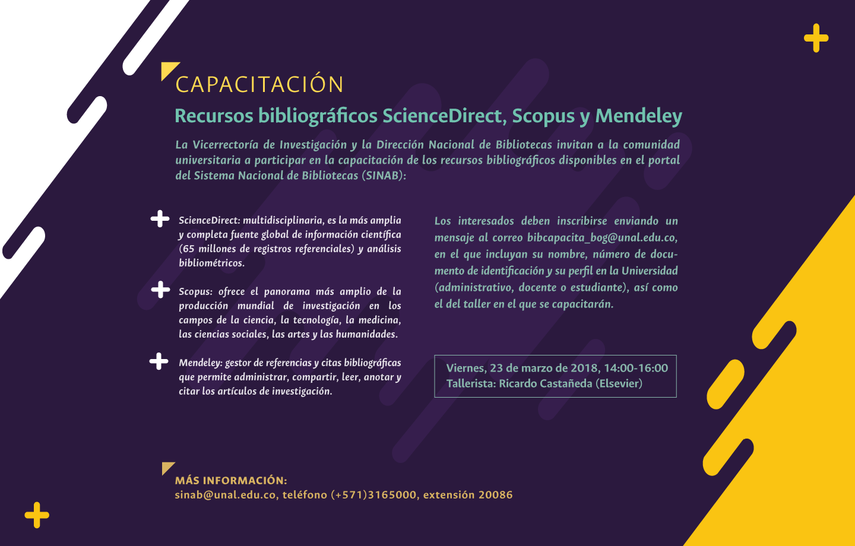 Invitación capacitación en recursos bibliográficos ScienceDirect, Scopus y Mendeley (marzo 2018)