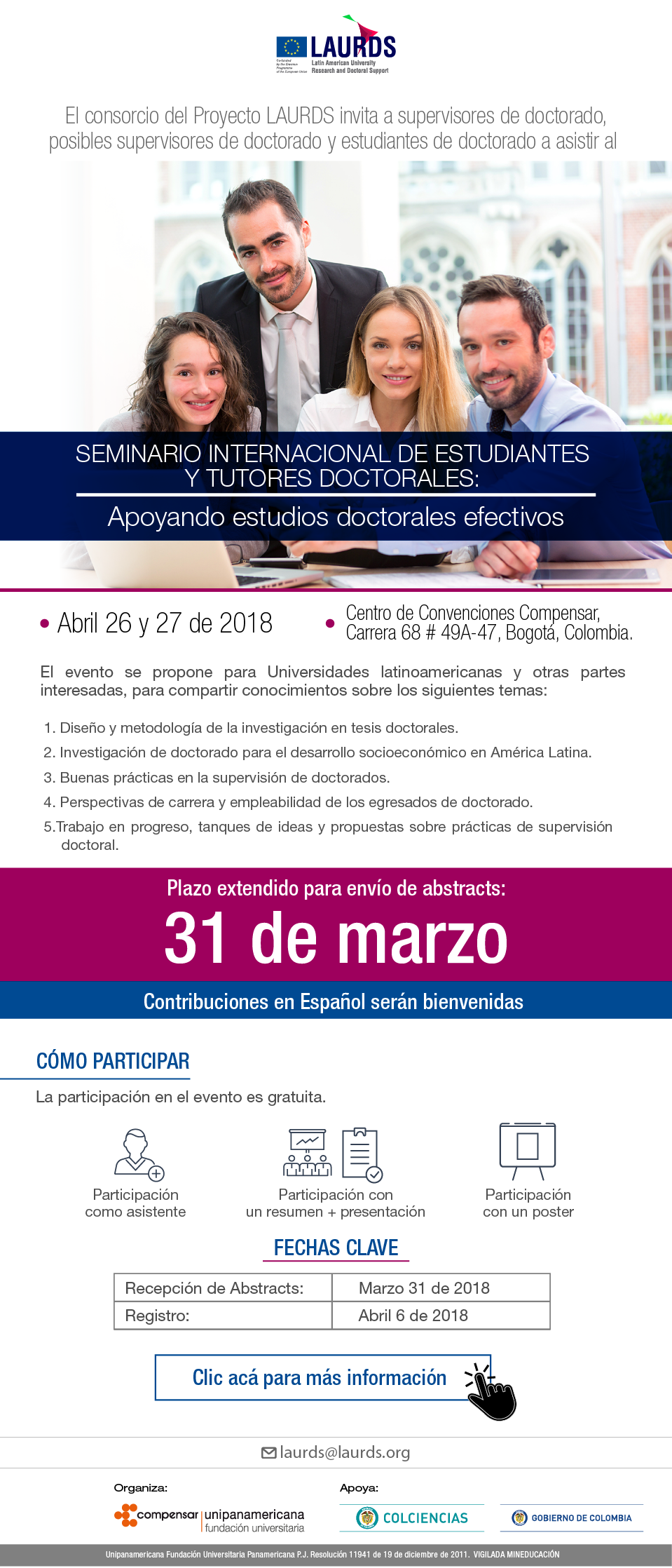 I Seminario Internacional de Estudiantes y Tutores Doctorales (Proyecto Erasmus+ «Latin American University Research and Doctoral Support - LAURDS»)