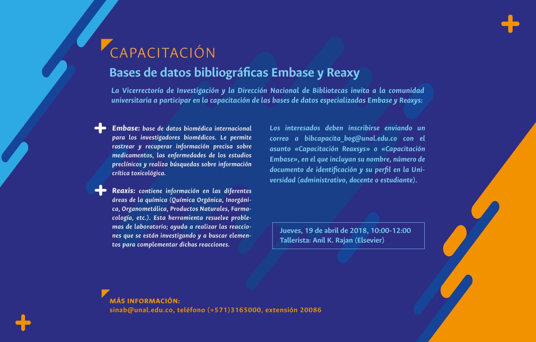 Invitación capacitación bases de datos bibliográficas Embase y Reaxys (abril 2018)