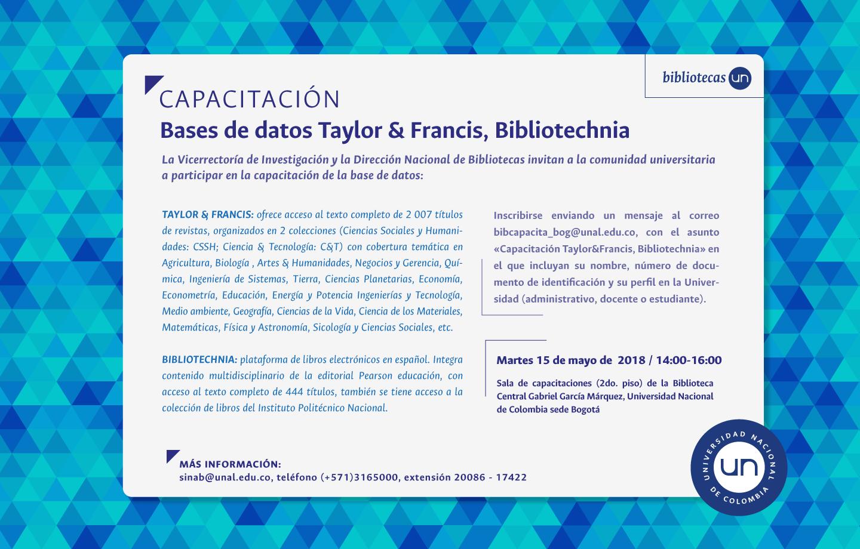 Invitación capacitación bases de datos bibliográficas Taylor & Francis y Bibliotechnia (mayo 2018)