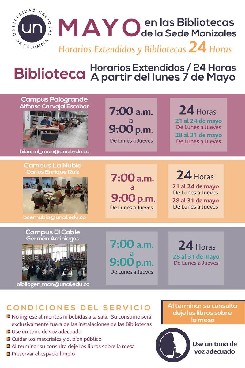 Horarios extendidos y #Biblioteca24Horas en la U. N. sede Manizales (2018-I)
