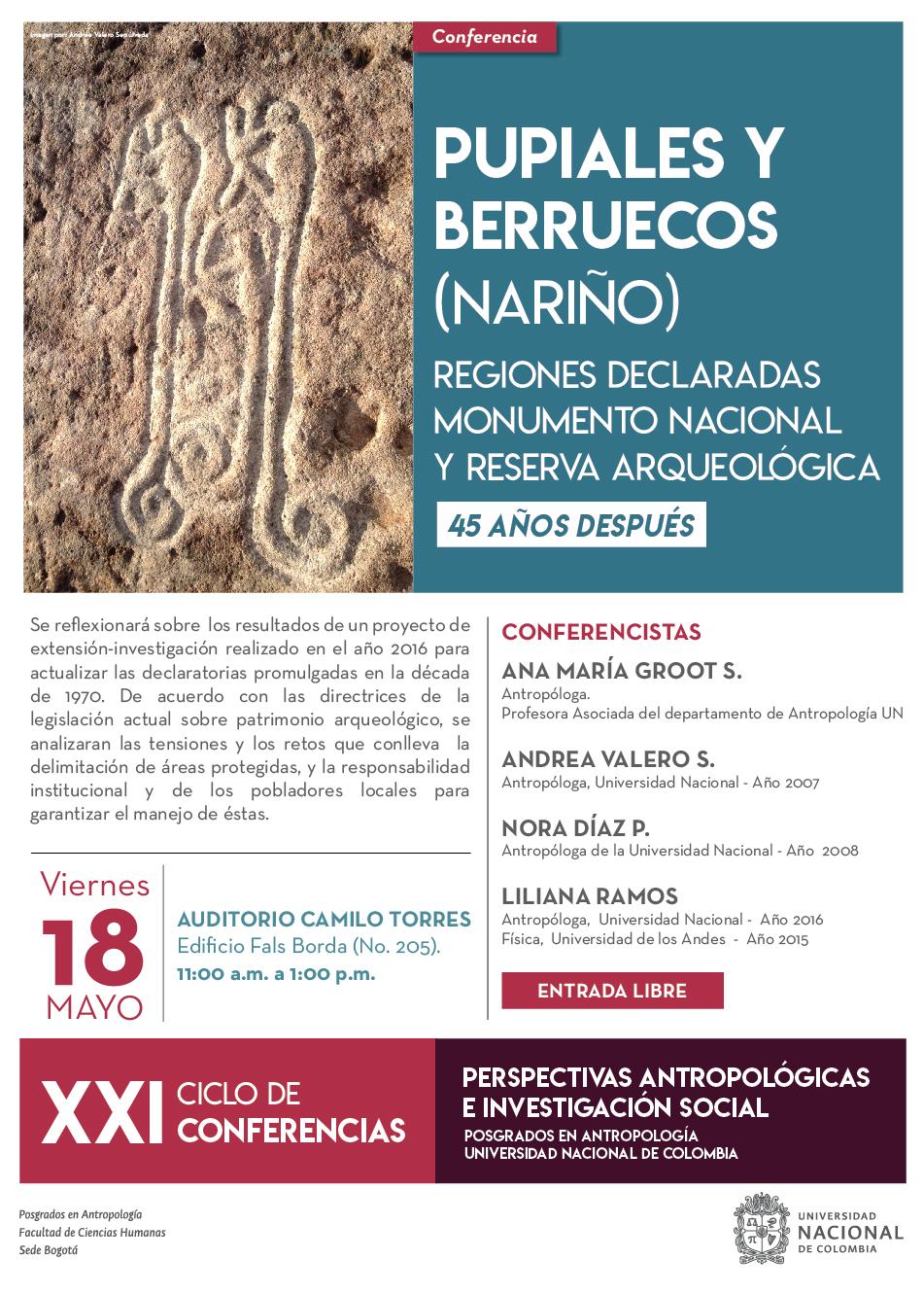 Conferencia «Pupiales y Berruecos (Nariño), regiones declaradas monumento nacional y reserva arqueológica, 45 años después»