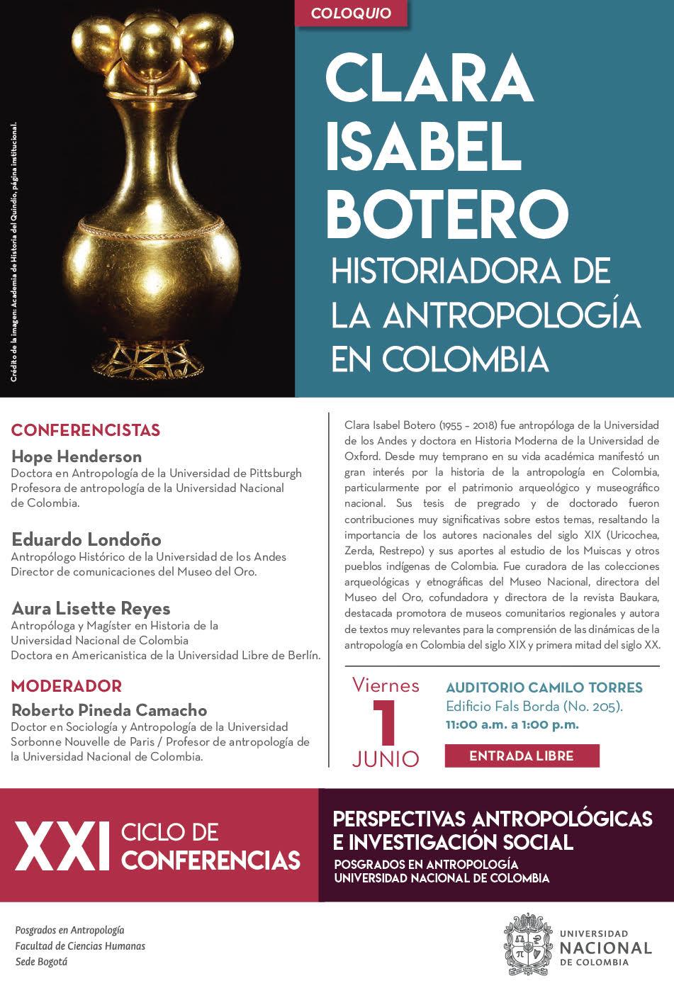 [XXI Ciclo de Conferencias Perspectivas Antropológicas e Investigación Social] Coloquio «Clara Isabel Botero, historiadora de la antropología en Colombia»