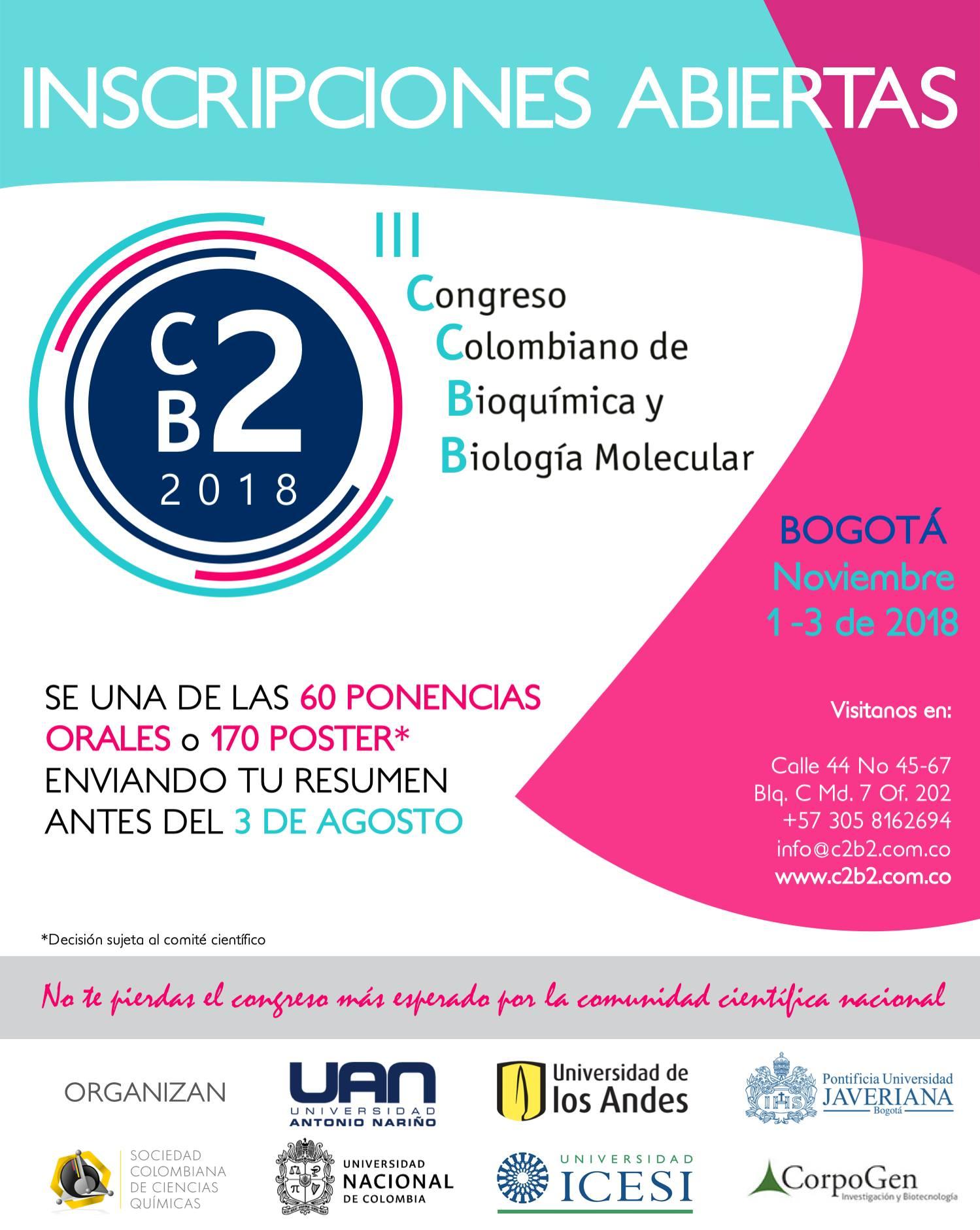 III Congreso Colombiano de Bioquímica y Biología Molecular (C2B2 2018)