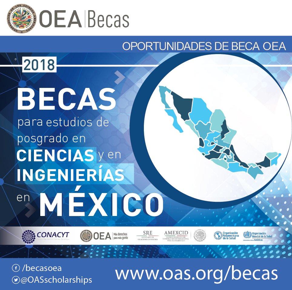 Programa de Becas CONACYT-OEA-AMEXCID 2018 para estudios de posgrado en Ciencias y en Ingenierías en México