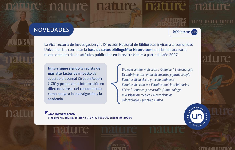 Novedades base de datos bibliográfica Nature.com