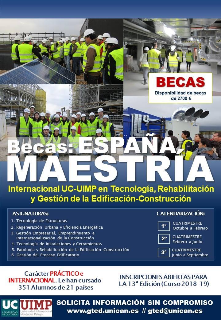 Máster Internacional UC-UIMP en Tecnología, Rehabilitación y Gestión de la Edificación 2018-2019 (U. de Cantabria y U. Internacional Menéndez Pelayo)