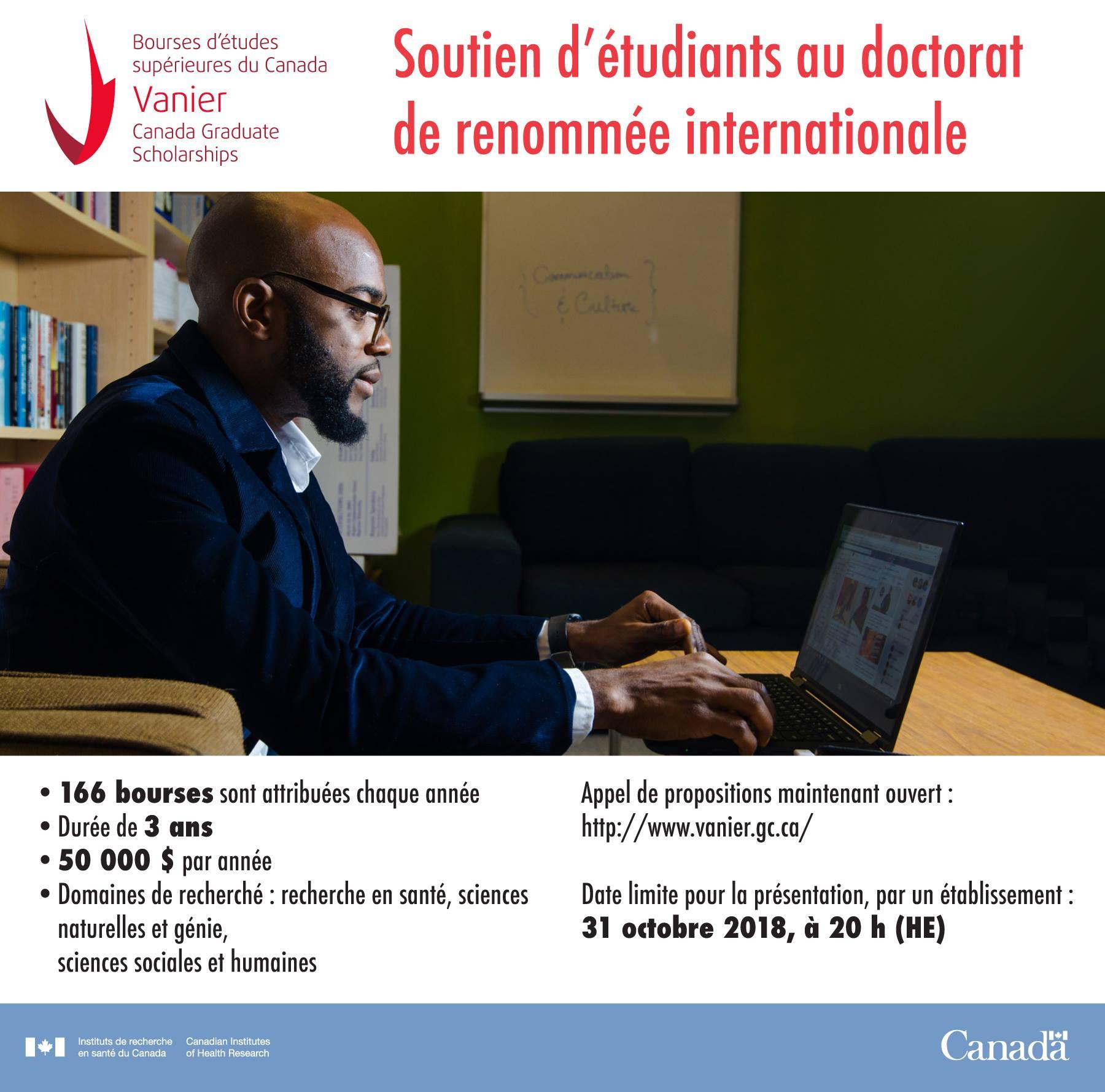 Bourses d'études supérieures du Canada Vanier 2018