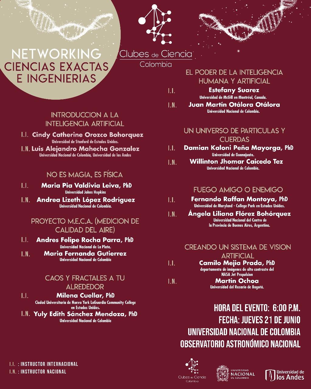'Networking' Ciencias Exactas e Ingenierías (Clubes de Ciencia Colombia 2018)