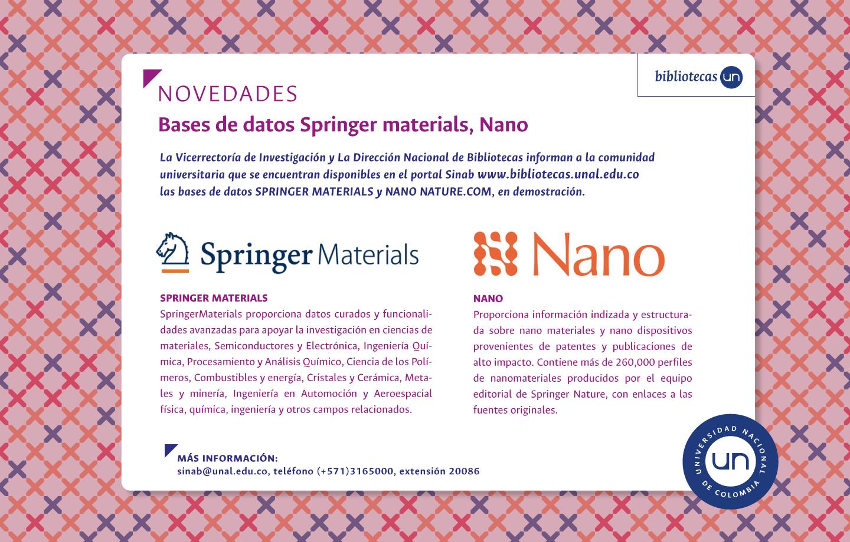 Novedades bases de datos: Springer Materials y Nano, en demostración