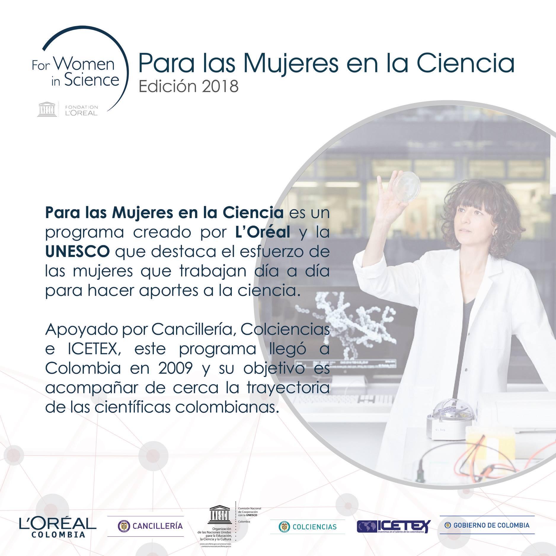 Convocatoria Programa Nacional L'Oréal-Unesco por las Mujeres en la Ciencia Colombia 2018