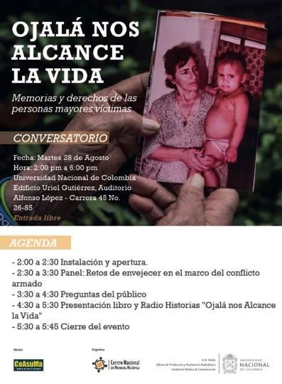 Conversatorio «Ojalá nos alcance la vida: memorias y derechos de las personas mayores víctimas»