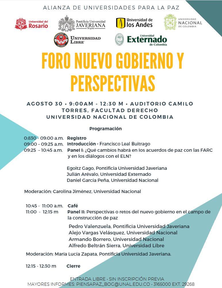 Foro «Nuevo gobierno y perspectivas» (Alianza de Universidades por la Paz)