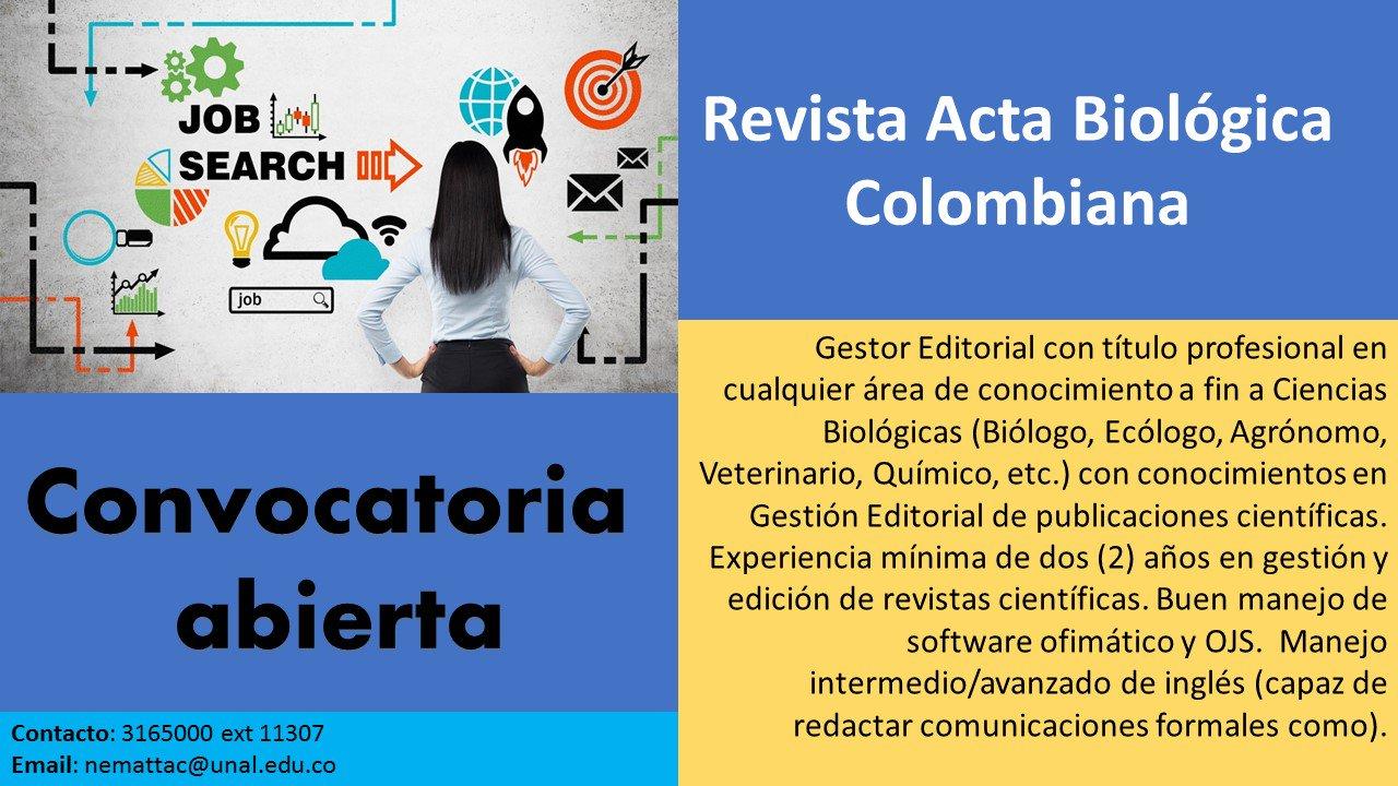 Convocatoria gestor editorial revista 'Acta Biológica Colombiana'
