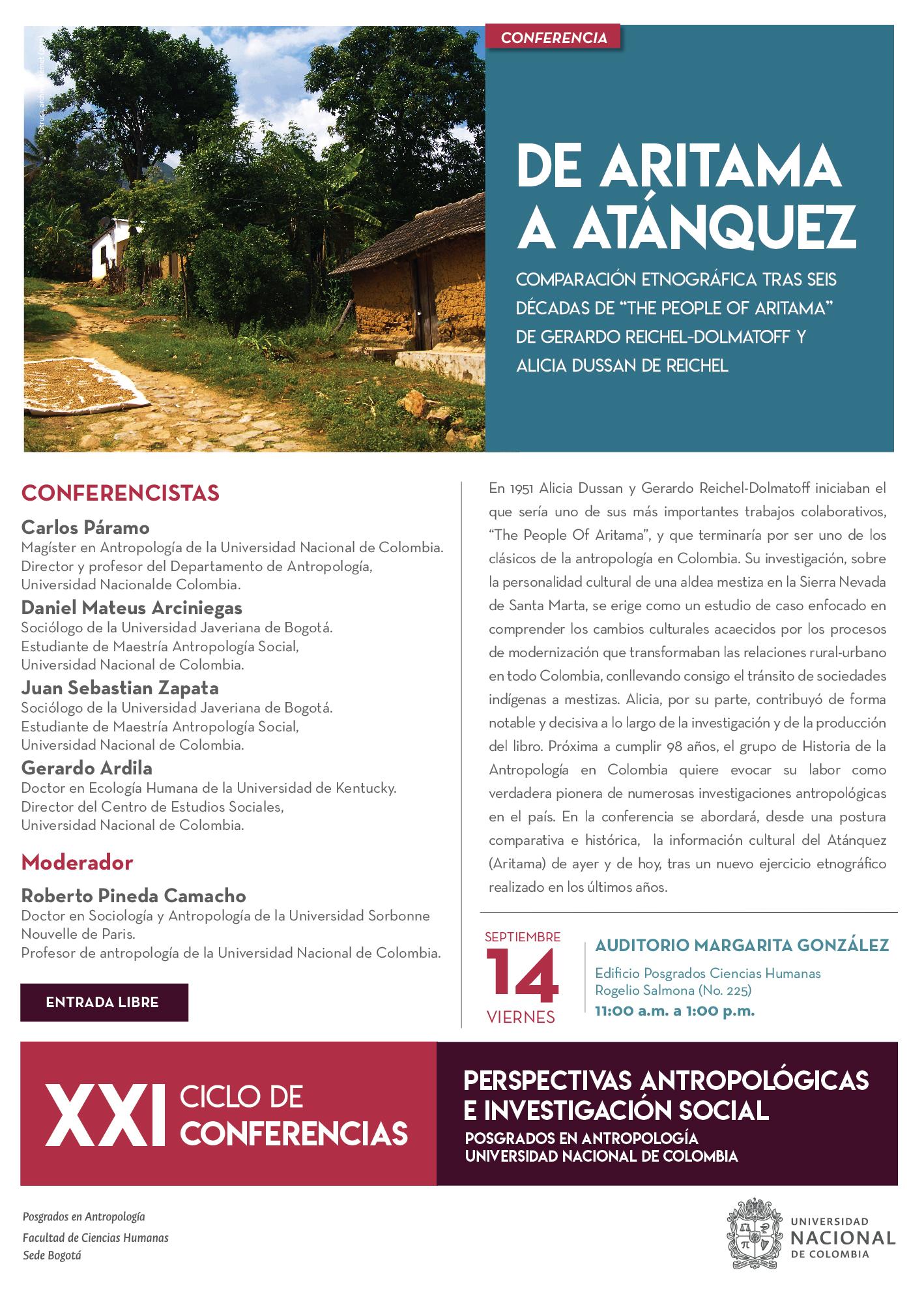 Conferencia «De Artiama a Atánquez: comparación etnográfica tras seis décadas de 'The People of Aritama' de Gerardo Reichel-Dolmatoff y Alicia Dussan de Reichel»
