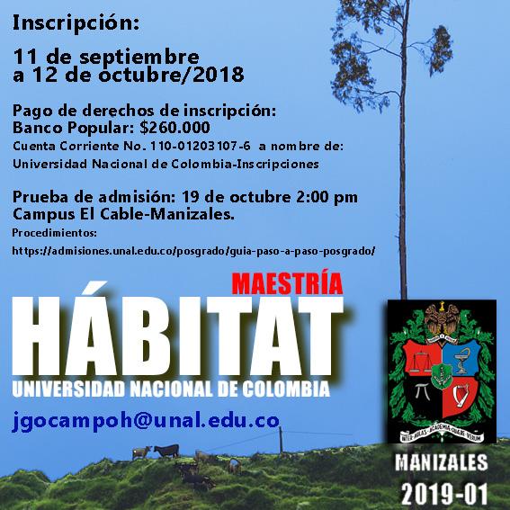 Inscripciones abiertas a la Maestría en Hábitat de la U. N. sede Manizales