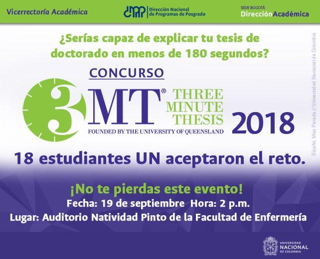 Concurso Tesis en Tres Minutos 2018, Universidad Nacional de Colombia