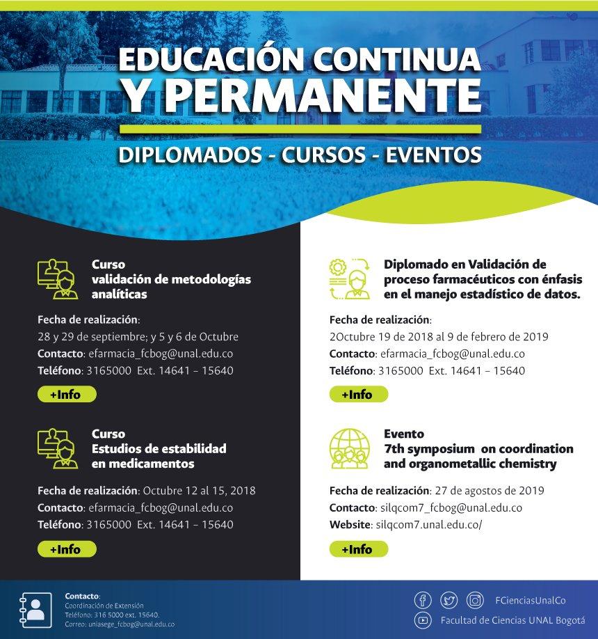 Oferta de educación continua y permanente de la Facultad de Ciencias de la sede Bogotá (septiembre y octubre de 2018)