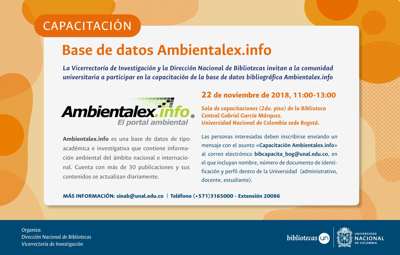 Invitación capacitación base de datos Ambientalex.info (octubre 2018)
