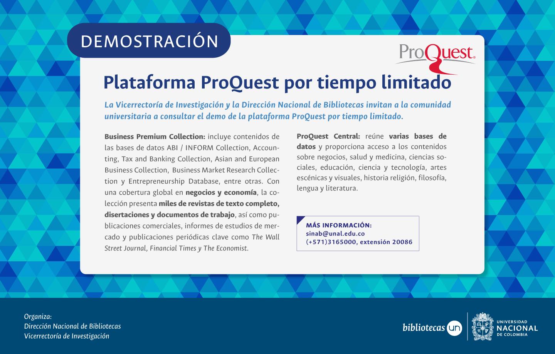Demostración de la plataforma ProQuest por tiempo limitado