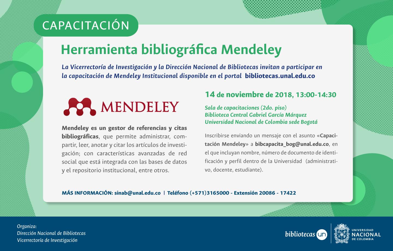 Invitación capacitación herramienta bibliográfica Mendeley (noviembre 2018)