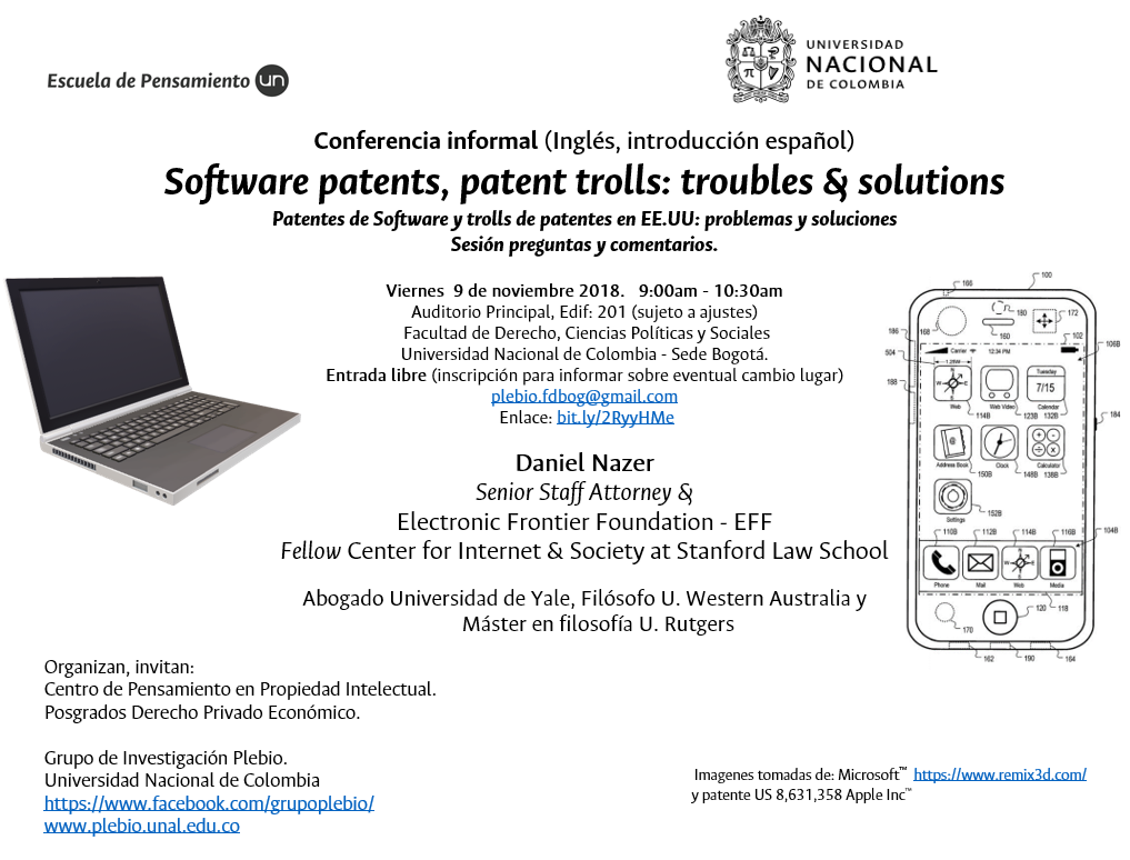 Conferencia informal «Software patents, patent trolls: troubles and solutions [Patentes de 'software' y troles de patentes: problemas y soluciones]» (Daniel Nazer)