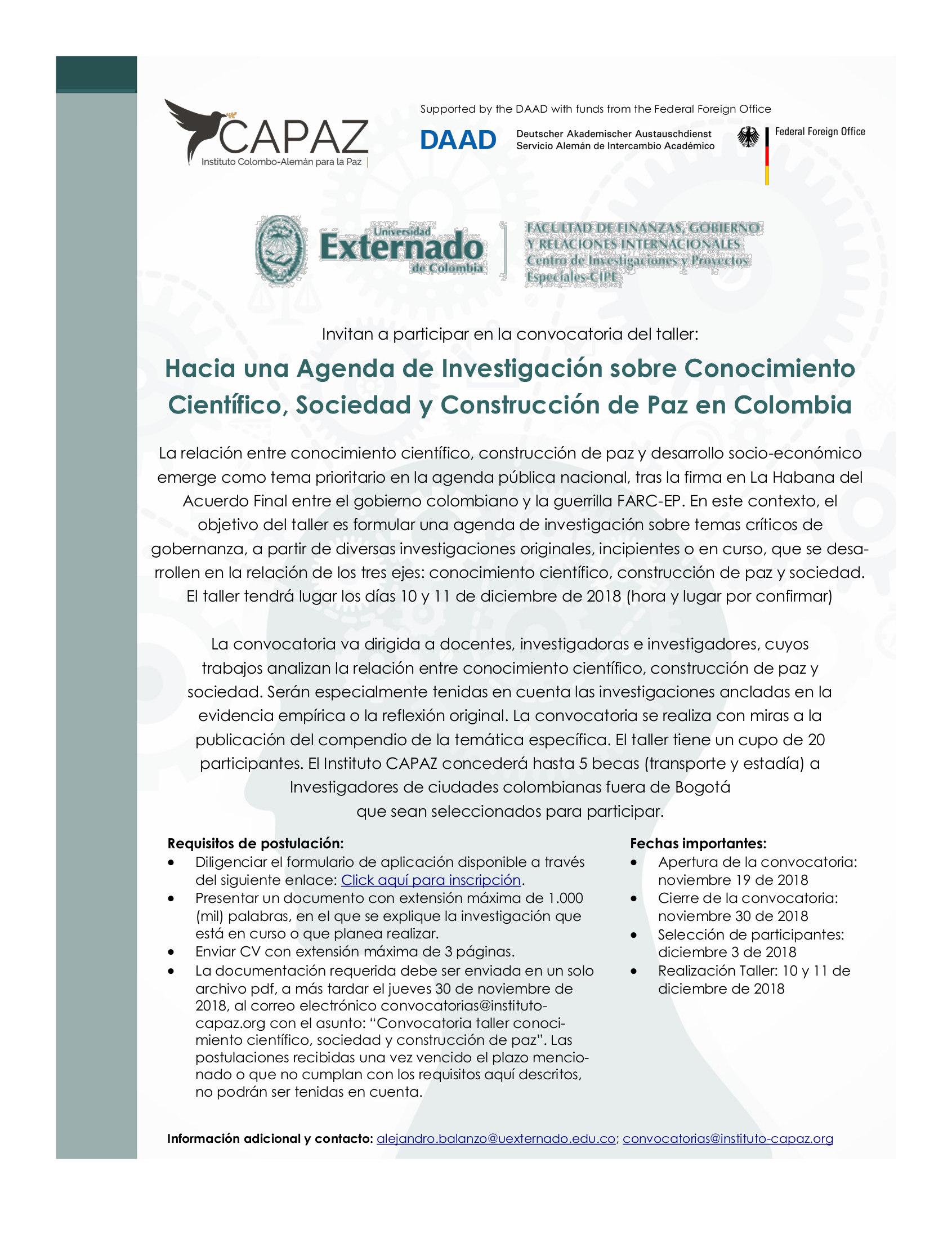 Convocatoria para participar en el taller «Hacia una Agenda de Investigación sobre Conocimiento Científico, Sociedad y Construcción de Paz en Colombia» (Instituto CAPAZ y U. Externado de Colombia)