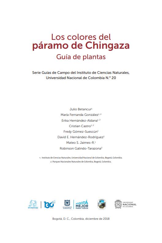 Los colores del páramo de Chingaza. Guía de Plantas