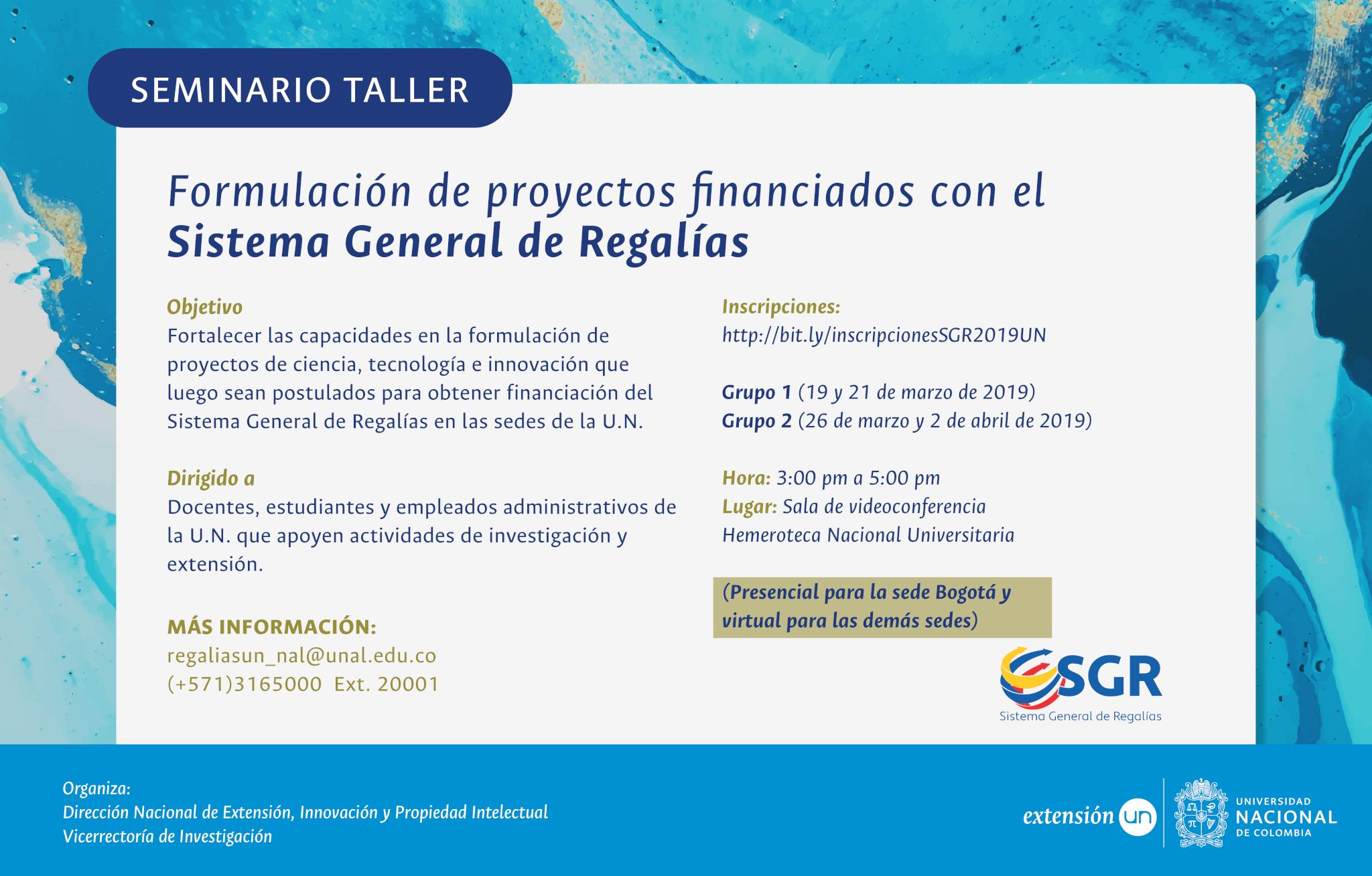 Seminario-taller para la formulación de proyectos financiados con el Sistema General de Regalías
