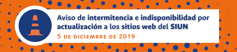 Aviso de intermitencia y de indisponibilidad de los sitios web del Sistema de Investigación de la Universidad Nacional de Colombia (5 dic. 2019)