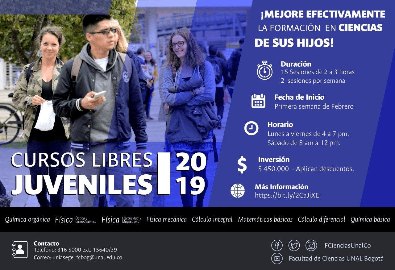Cursos libres juveniles de la Facultad de Ciencias de la Sede Bogotá (2019-I)
