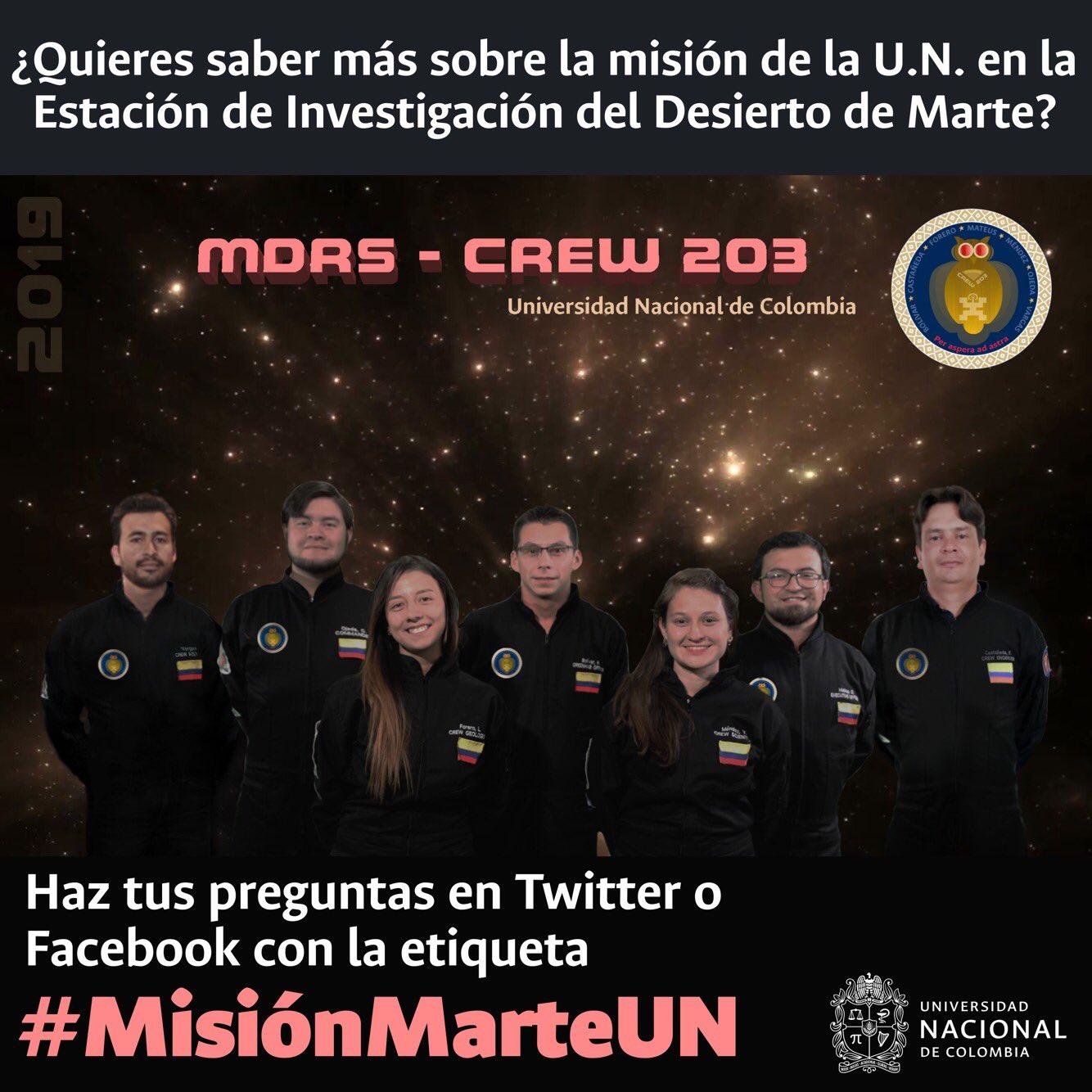 ¿Quieres saber sobre la misión de la U.N. en la                 Estación de Investigación del Desierto de Marte? ¡Haz                 tus preguntas al #Crew203MDRS con la etiqueta                 #MisiónMarteUN en Twitter o Facebook!