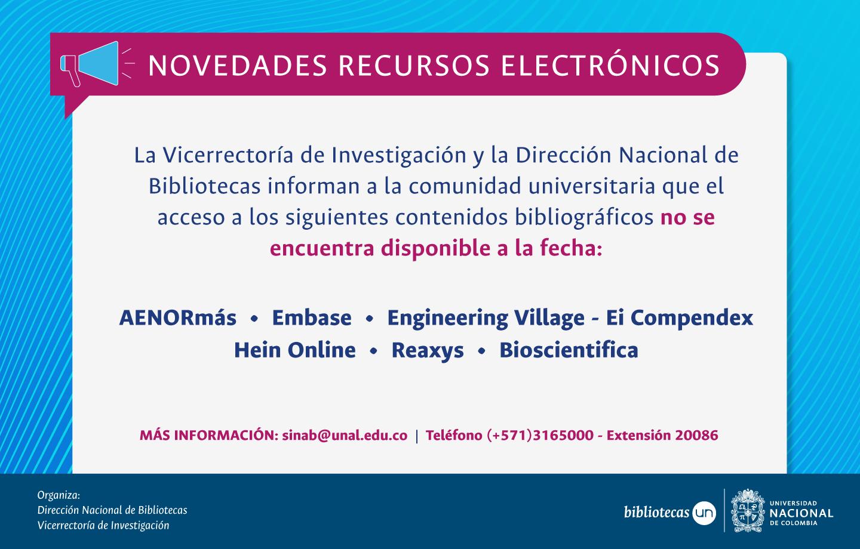 Novedades bases de datos: recursos bibliográficos no disponibles