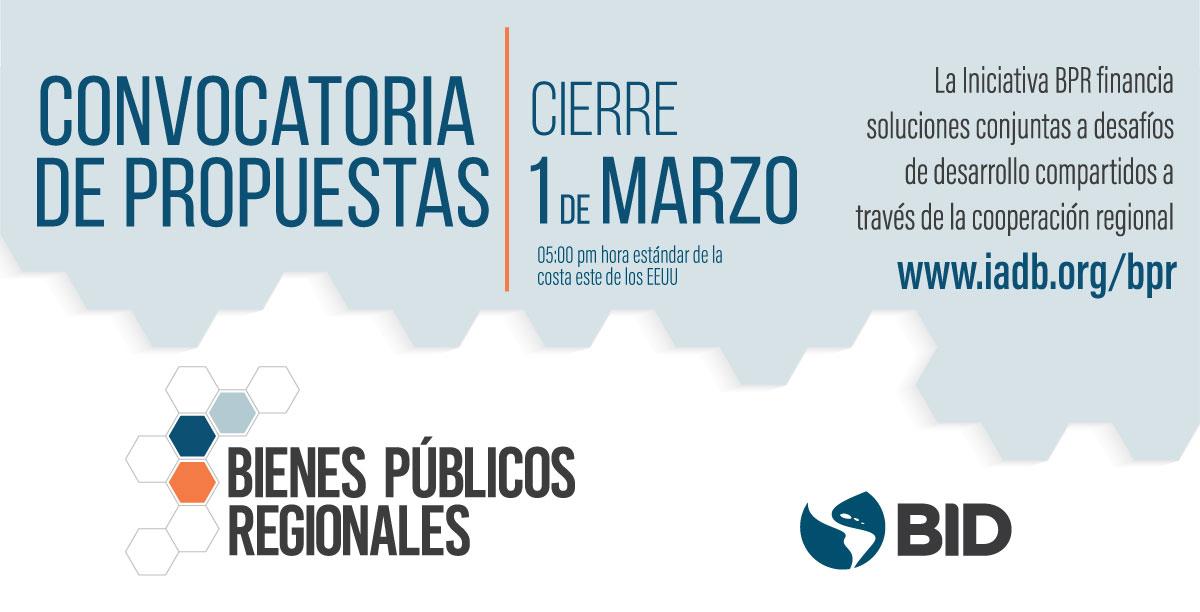 Convocatoria de propuestas 2019 - iniciativa Bienes Públicos Regionales (Banco Interamericano de Desarrollo)
