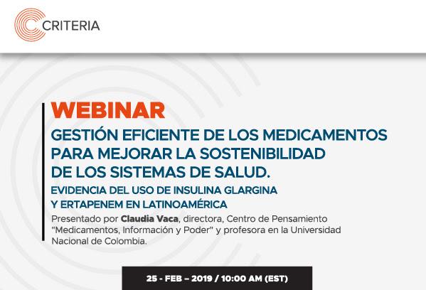 'Webinar' «Gestión eficiente de los medicamentos para mejorar la sostenibilidad de los sistemas de salud»