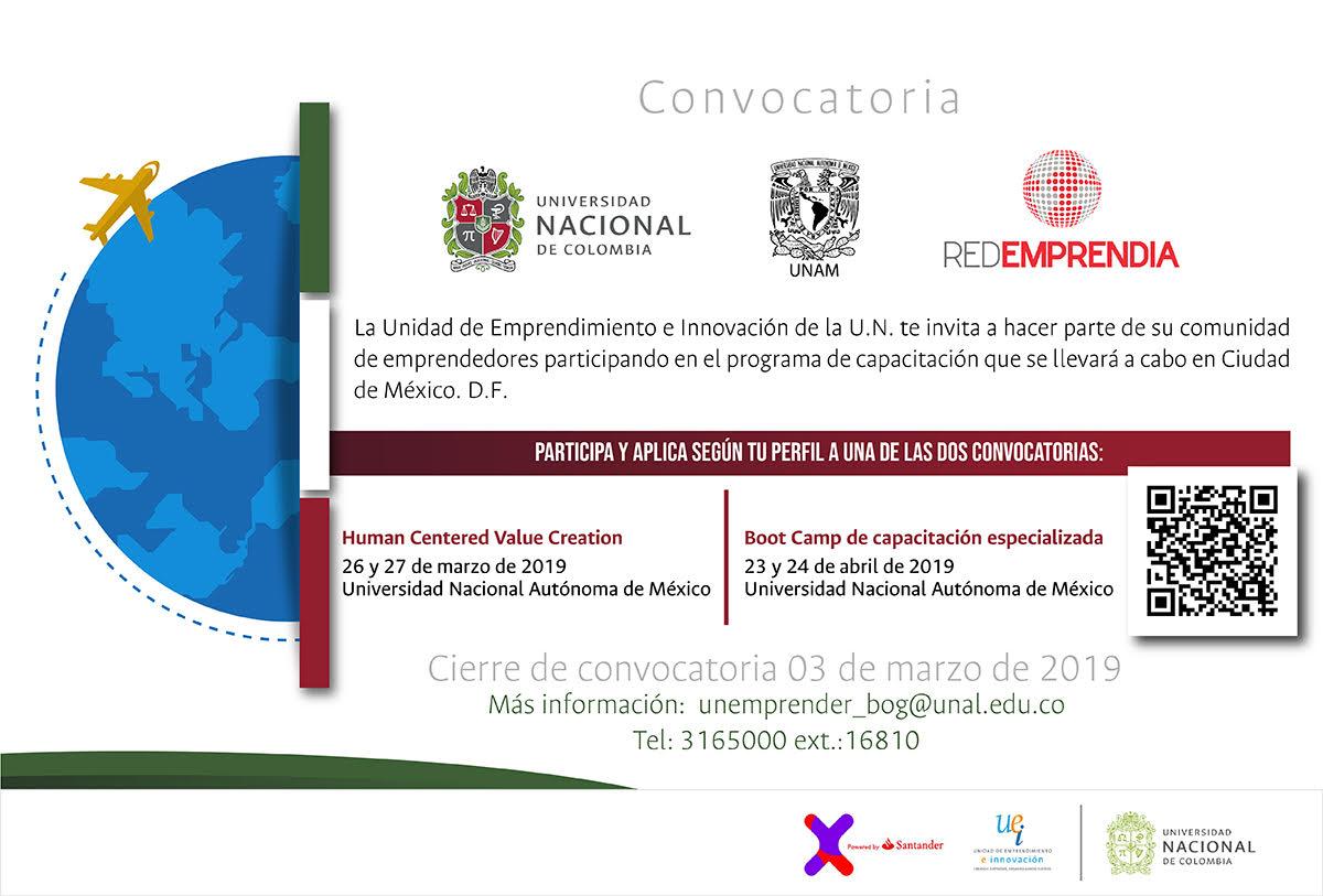 Convocatoria programa de capacitación en emprendimiento (Convenio UN-UNAM, Unidad de Emprendimiento e Innovación)