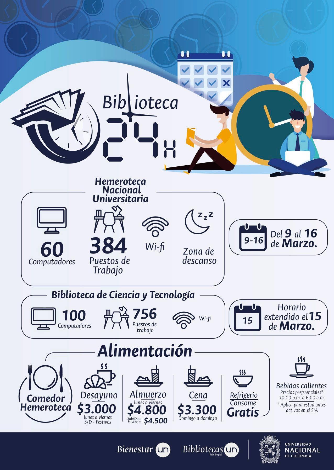 Biblioteca 24 horas en la U.N. sede Bogotá (2018-2)