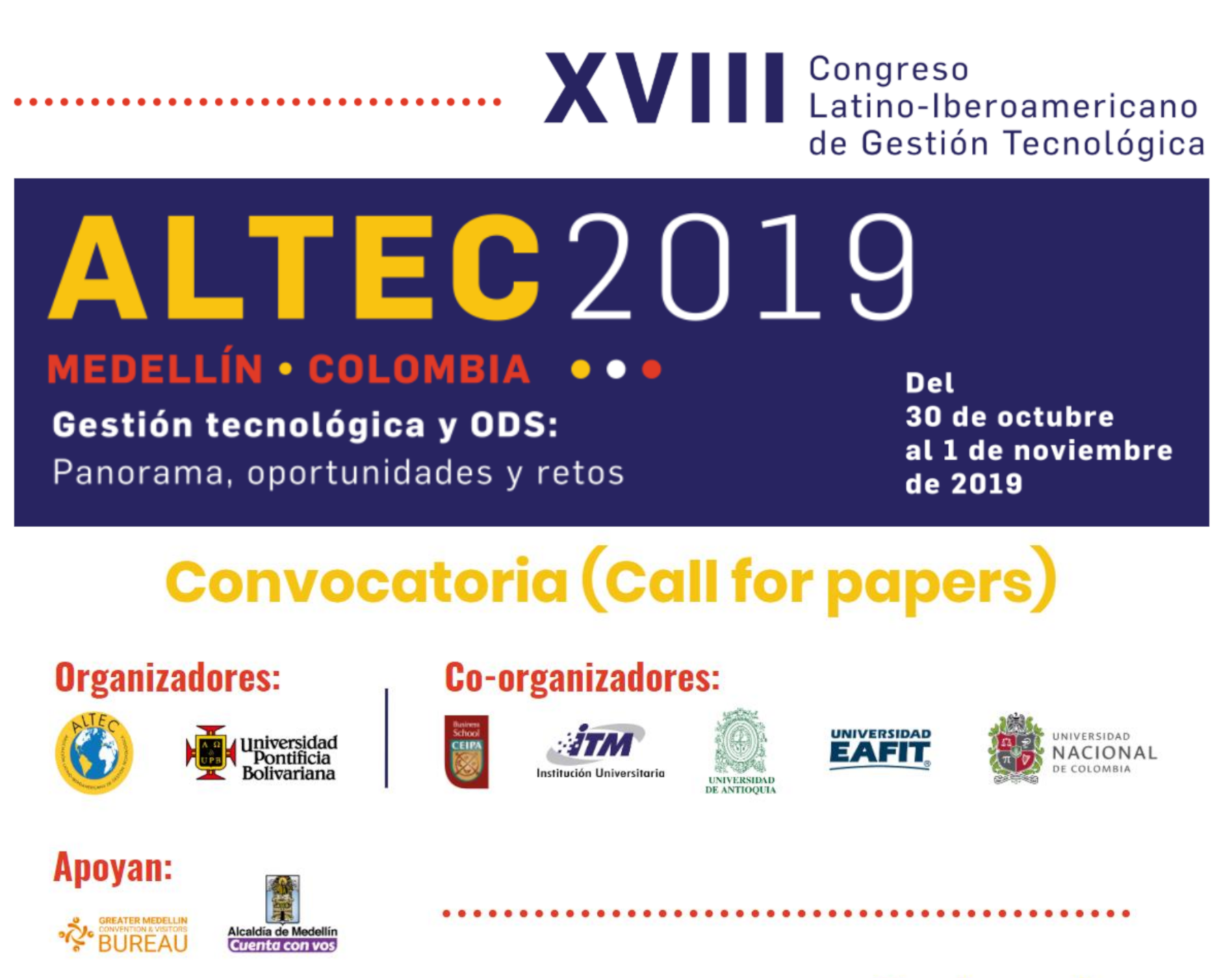 XVIII Congreso Latino-Iberoamericano de Gestión Tecnológica (ALTEC 2019)