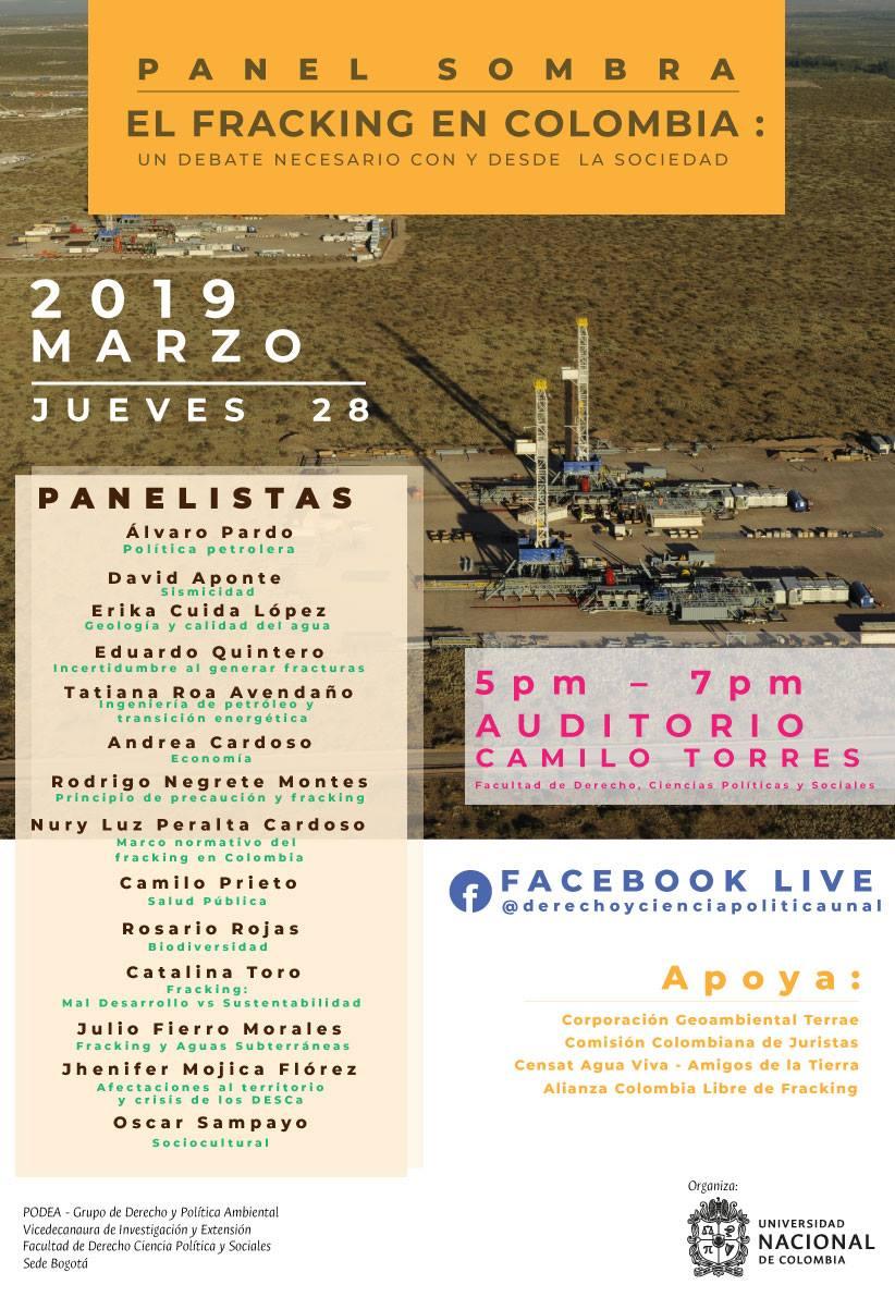 Panel sombra «El fracking en Colombia: un debate necesario con y desde la sociedad»