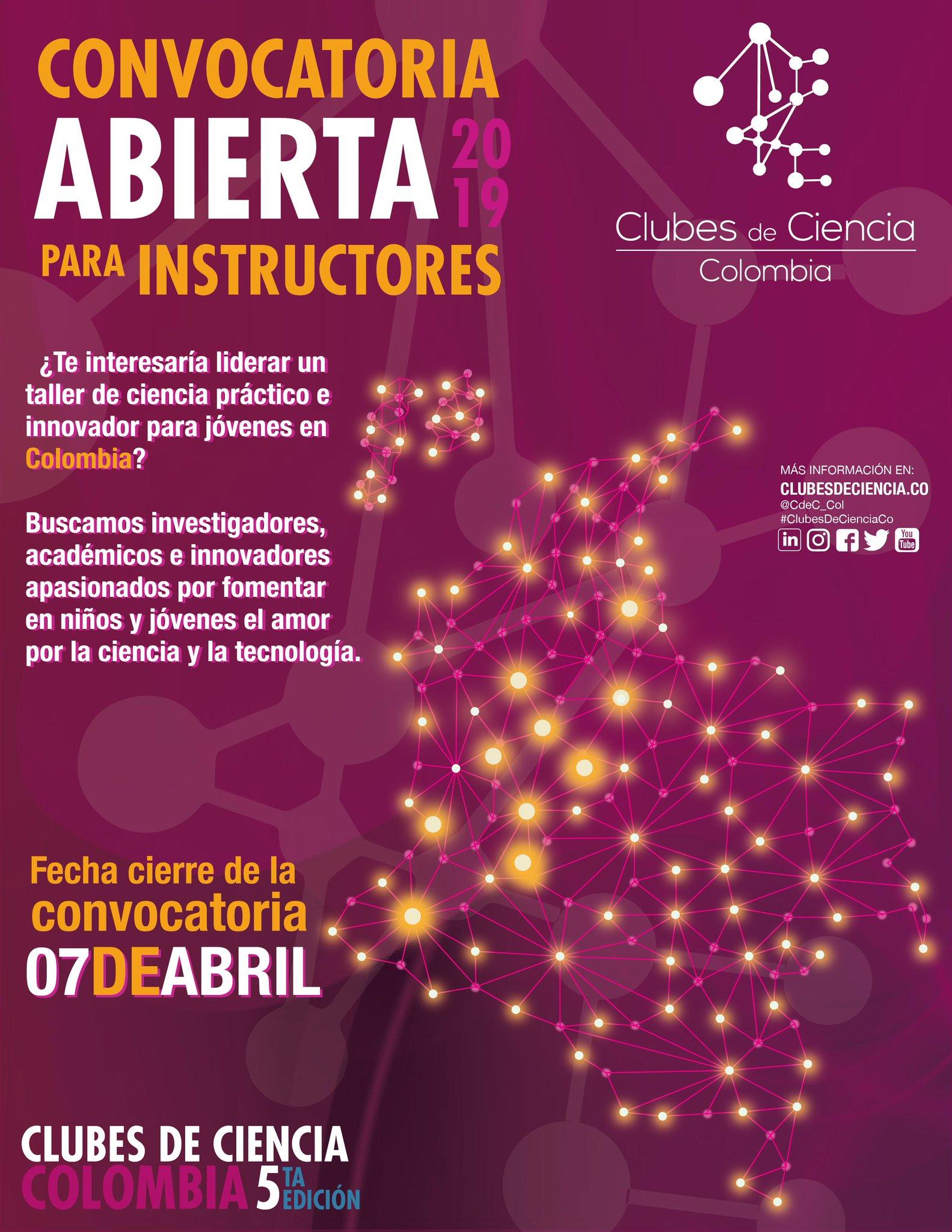 Convocatoria abierta para instructores (Clubes de Ciencia Colombia 2019)