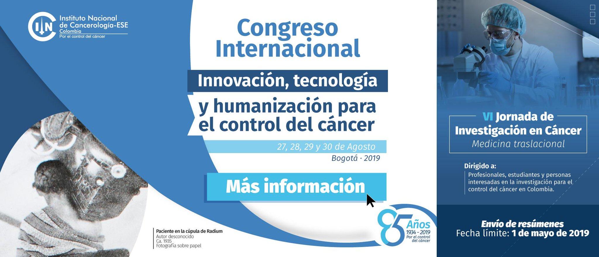 [Convocatoria resúmenes] VI Jornada de Investigación en Cáncer (Instituto Nacional de Cancerología)