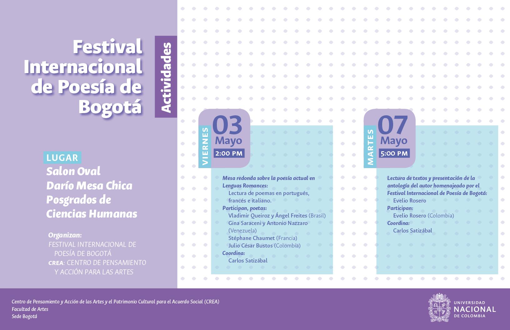 Festival Internacional de Poesía de Bogotá 2019 en la Universidad Nacional de Colombia
