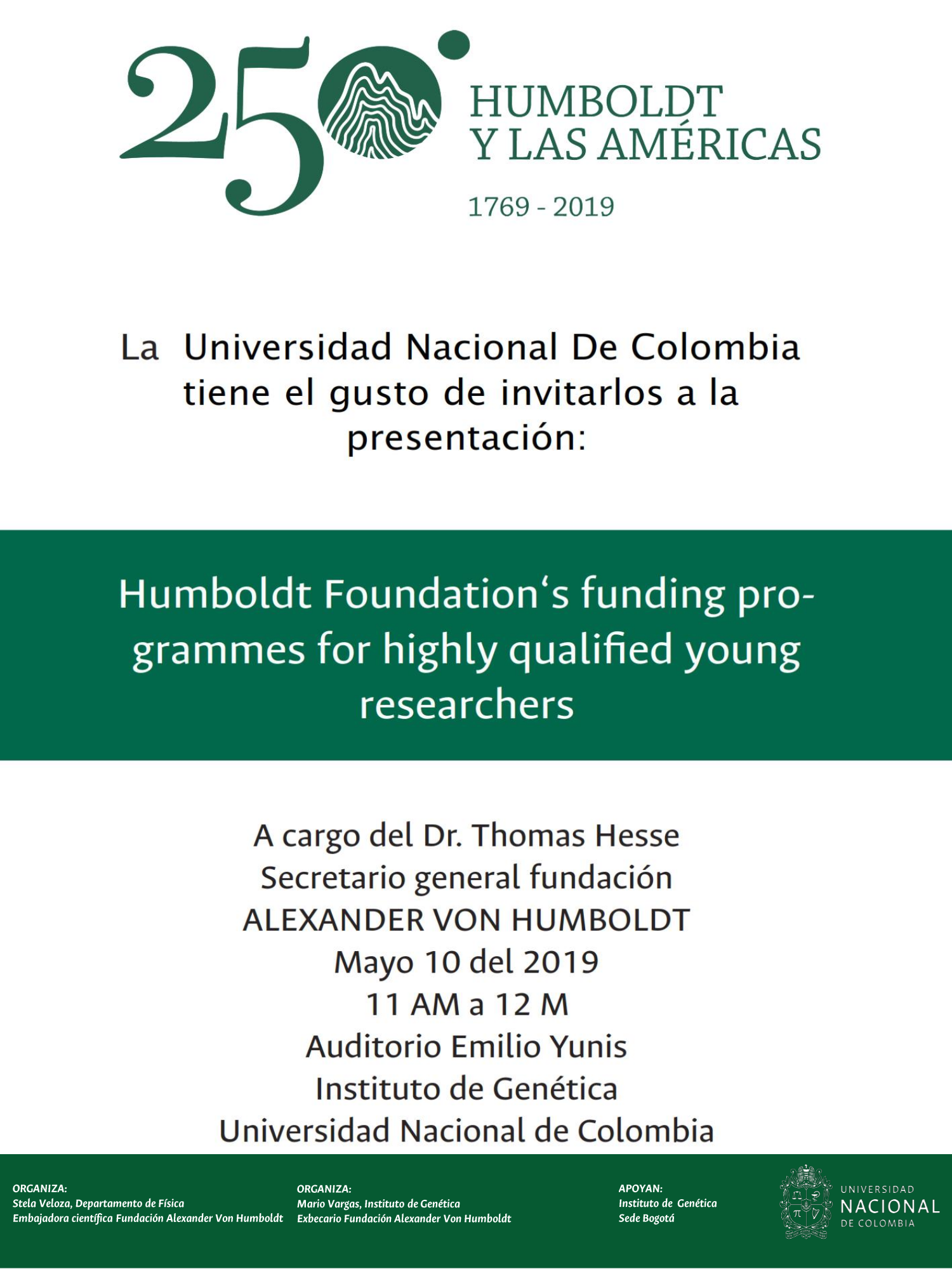 Presentation of Humboldt Foundation's funding programmes for highly qualified young researchers