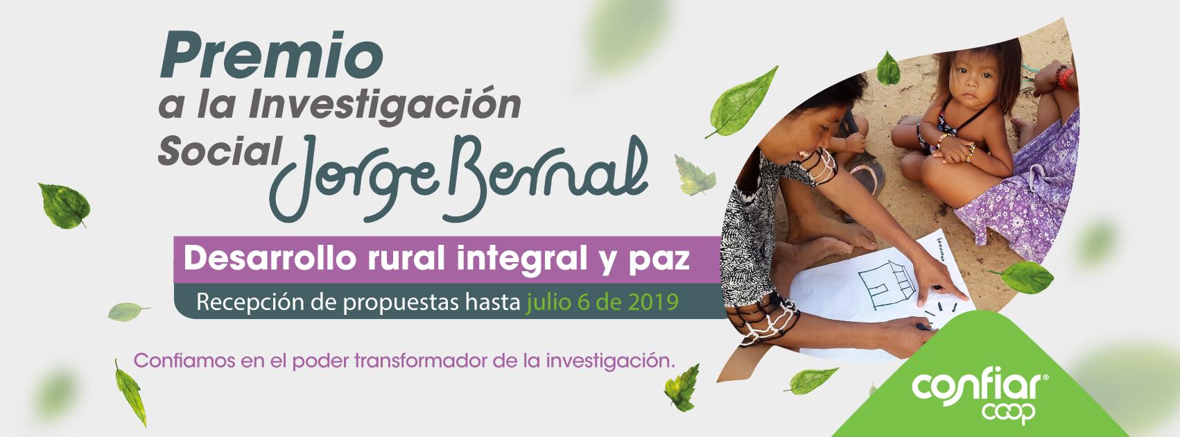 8.° Premio Jorge Bernal a la Investigación Social: «Desarrollo rural integral y paz»