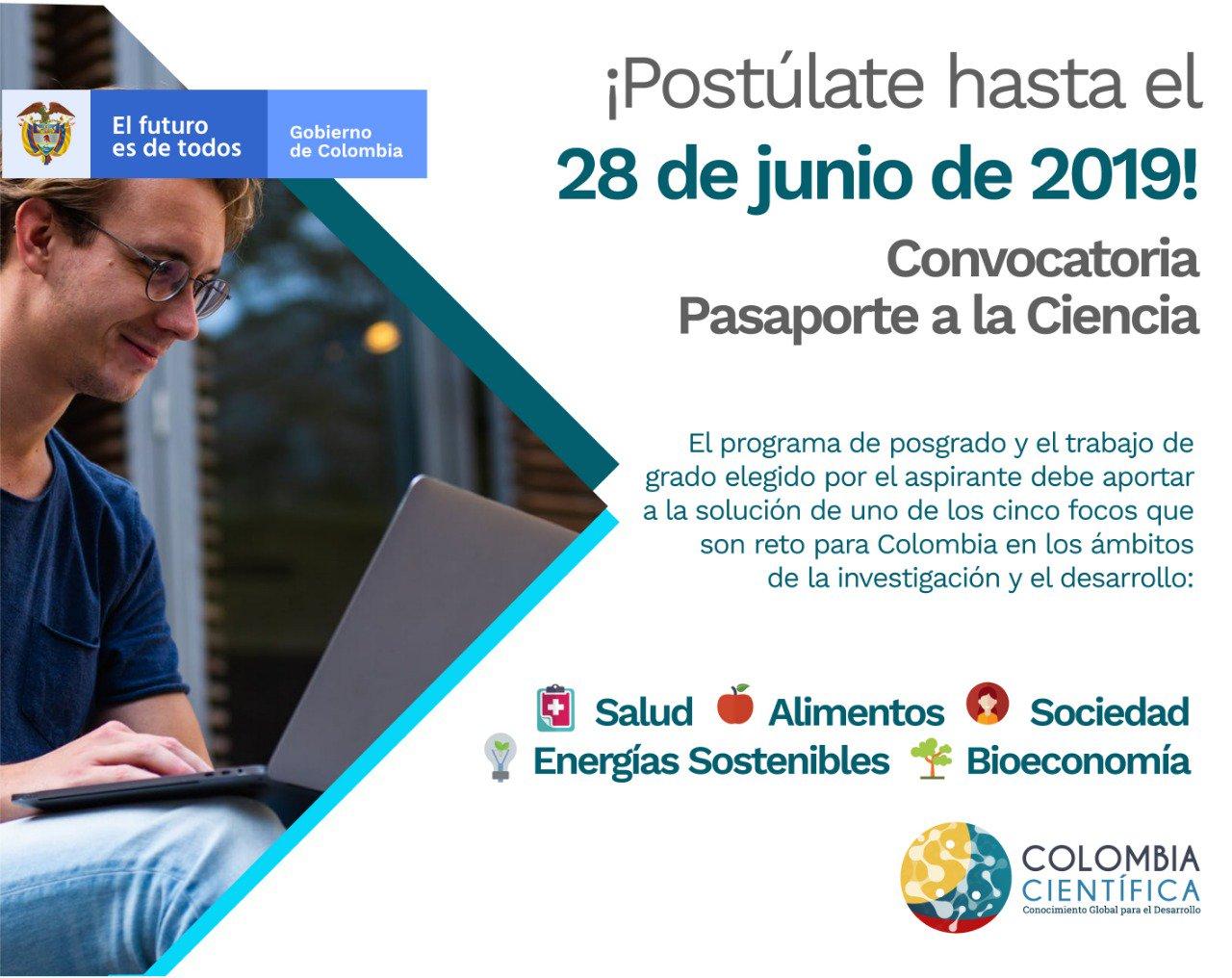 Convocatoria «Pasaporte a la Ciencia» 2019 (Colombia Científica)