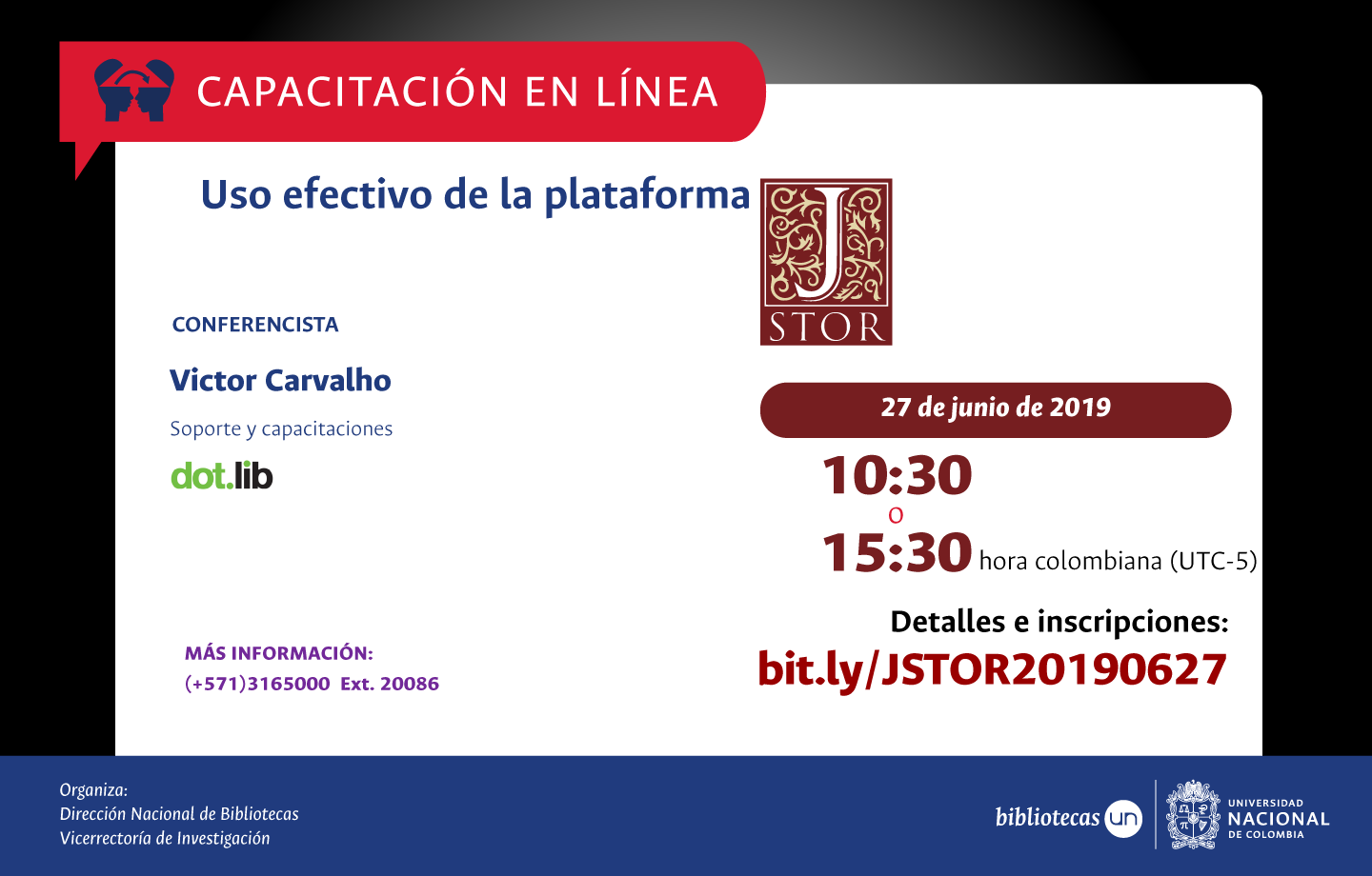 Invitación a capacitación virtual en JSTOR (junio 2019)