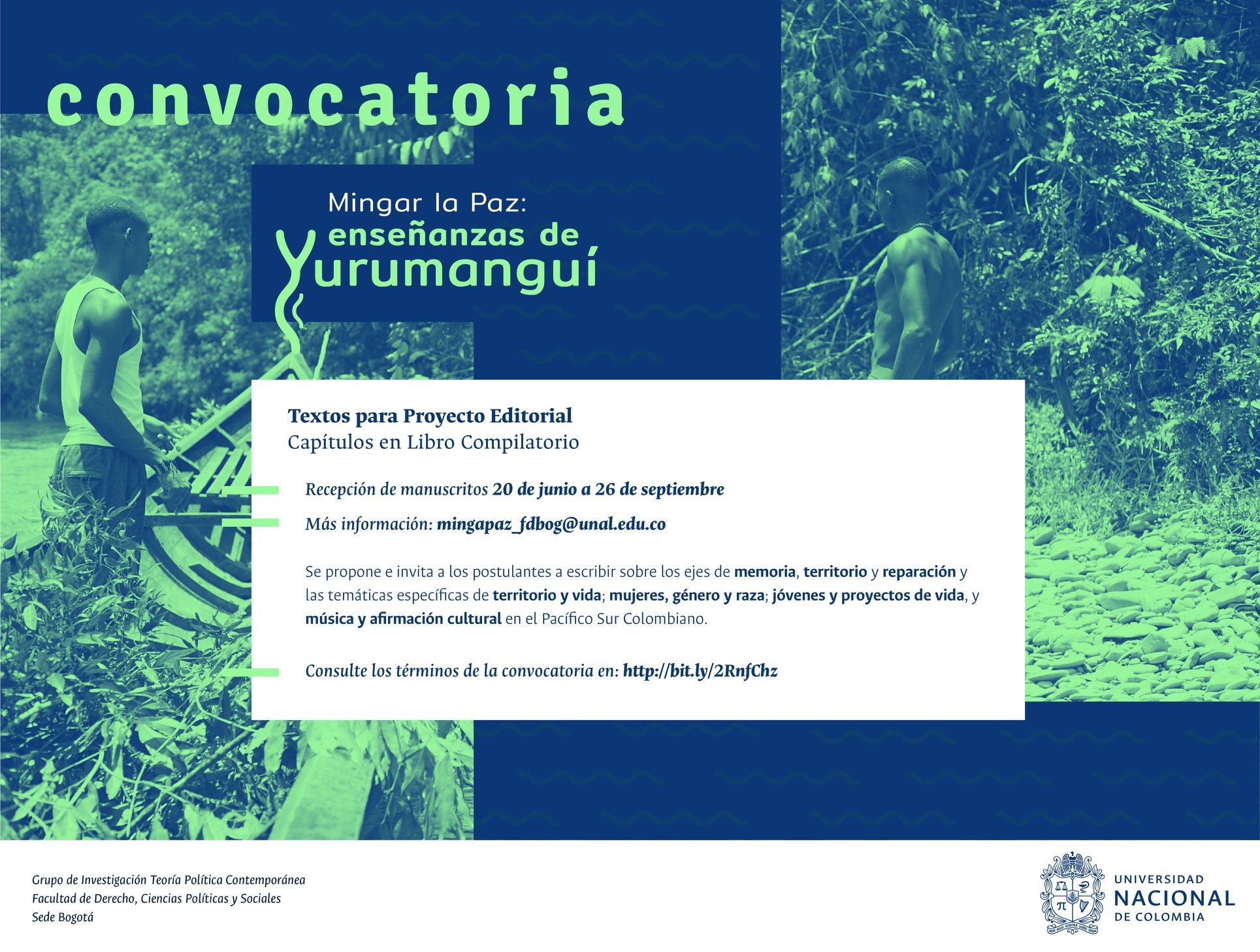 Convocatoria abierta para la recepción de textos para el libro compilatorio del proyecto de investigación «Mingar la paz: enseñanzas de Yurumanguí para pensar la reparación territorial y la construcción de paz»