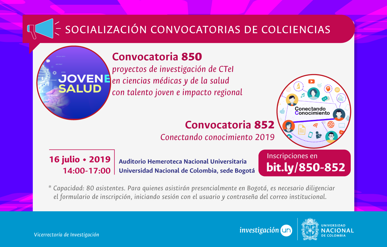 Presentación términos de referencia Convocatorias 850 y 852 de Colciencias