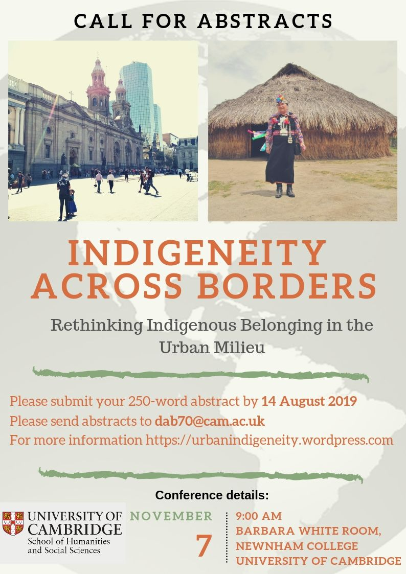 "[Call for abstracts] Workshop ""Indigeneity across Borders: Rethinking Indigenous Belonging in the Urban Milieu"""